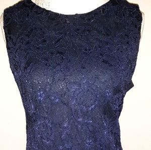 Jude Connally Beth Lace Shift dress Navy Blue XL